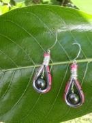 bijoux boucles d oreil perle de tahiti cordelette marine : AURORE Boucle d'oreilles