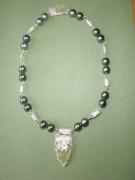bijoux collier argent perle de tahiti sea glass : La Désirade