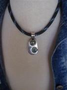 bijoux collier perle de tahiti sea glass cordelette marine : DAUPHIN