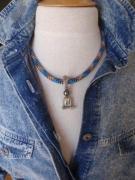 bijoux collier perle de tahiti cordelette marine sea glass : GRAND BLEU