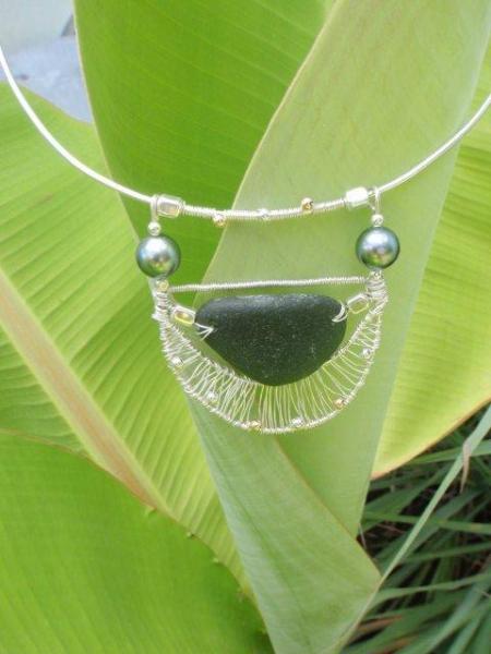 BIJOUX collier perle tahiti seaglass argent  - PHARAON