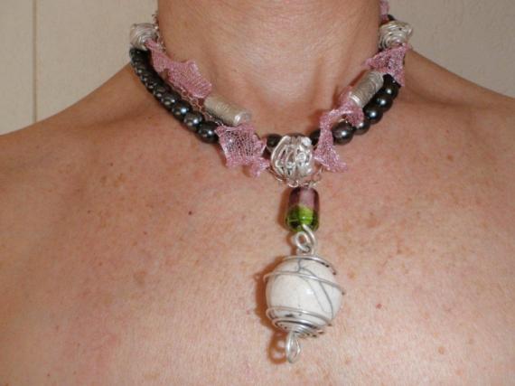 JEWELRY collier perle de tahiti argent raku  - TRILOGIE ROSE