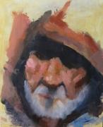 tableau personnages portrait vieux : visage de vieux dans l'ombre