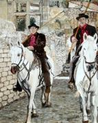 tableau scene de genre chevaux gardians baux de provence sud de la france : Les Gardians