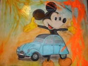 tableau : mickey voiture