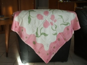 art textile mode fleurs foulard rose creation unique : foulard soyeux 3
