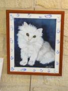 tableau animaux chat aquarelle verre protecteur : Chat