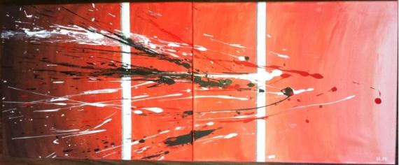 TABLEAU PEINTURE design Moderne Abstrait Acrylique  - Barrière de corail