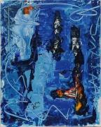 tableau abstrait 1 1 1 1 : Bleu blanc, rouge