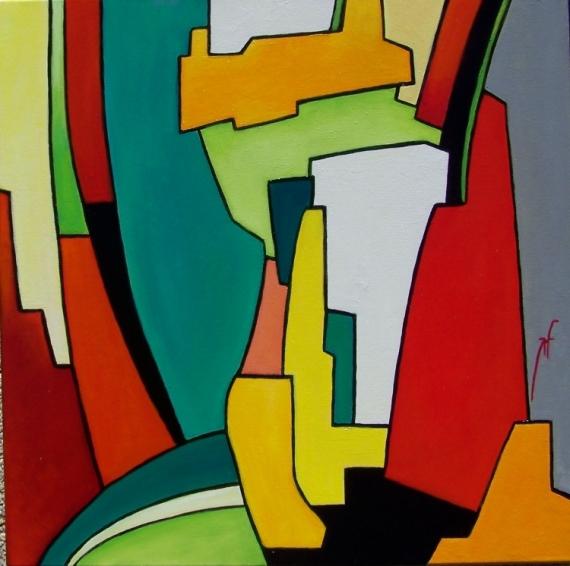 TABLEAU PEINTURE FORME CARREE COULEURS TABLEAU MODERNE Abstrait Peinture a l'huile  - Réflection