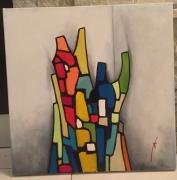 tableau abstrait couleurs : Un  nouveau monde