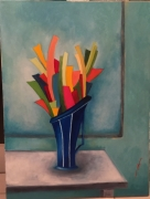 tableau fleurs abstrait pot fleurs couleurs : Éclosion de Printemps