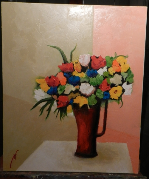 TABLEAU PEINTURE fleurs vase rouge couteau Fleurs Peinture a l'huile  - Eclat Floral