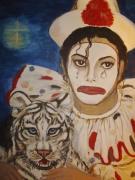 tableau clown pierrot michael jackson clow tigre blanc : Time is magic