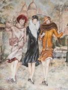 tableau personnages montmartre parisienne ballade : Parisiennes à Montmartre