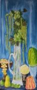 tableau fleurs amarantes fruits pommes vase : branches de pommier et amarantes