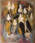 tableau abstrait fleurs abstrait marron ocre : Les cannas