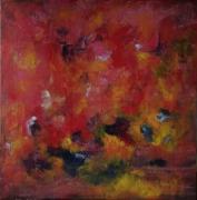 tableau abstrait orange rouge expressionnisme abstrait : Insomnia