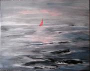 tableau marine bretagne mer voilier rochers : L'échappée belle