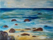 tableau marine mer rochers paisible sauvage : Marine