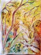 dessin paysages arbres rochers foret : Forêt bretonne