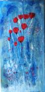 tableau fleurs coquelicots fleurs rouge bleu : Passe , passe le temps ...