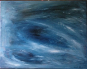 tableau abstrait mouvement eau contrastes bleu : Emotion