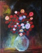 tableau fleurs vase oeillets impressionnisme rose rouge : vase d'oeillets
