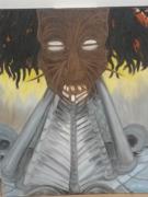 tableau personnages animisme futuriste senegal masque : mécanisation de l'afrique