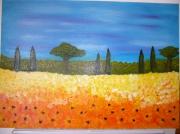tableau paysages cypres sud champ bleu : Eclat d'un champ du Sud