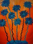 tableau autres orange palmier bleu acrylique : Les palmiers imaginaires