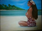 tableau personnages tahiti vahinee exotisme plage : tahitienne sur plage