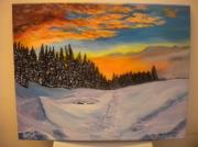 tableau crepuscule neige : crépuscule sur la neige