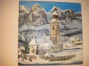 tableau paysages eglise : eglise dans alpes italiennes