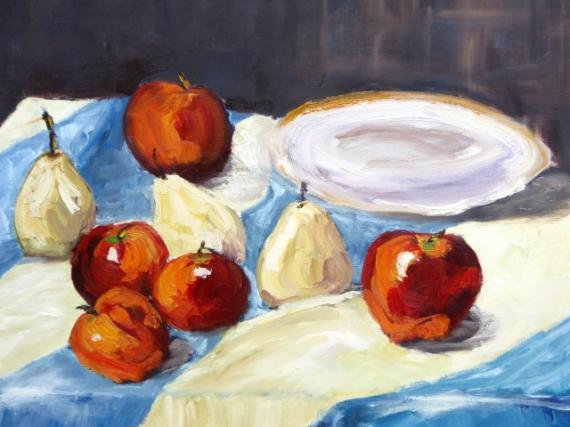 TABLEAU PEINTURE fruits assiette coupe liberté Nature morte Peinture a l'huile  - Assiette et fruits