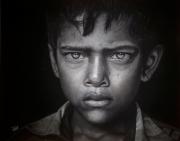 tableau personnages enfant indien : Un Regard
