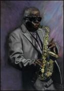 dessin personnages jazz sax : solo sax