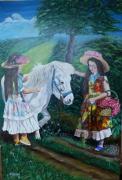 tableau personnages : Les jeunes filles et le poney
