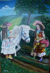 Les jeunes filles et le poney