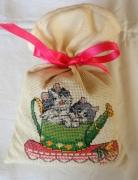 art textile mode animaux sac ,a lavande chats broderie sac : Sac à lavande les chats