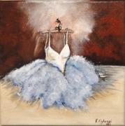 tableau personnages tutu ballerine robe original : La petite robe blanche