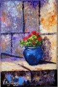 tableau paysages pot fleurs provence : Le pot