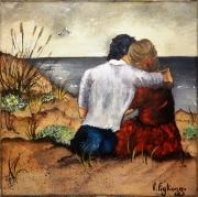 tableau personnages amoureux plage marseillanplage couple : Étreinte Marseillanaise