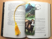 artisanat dart animaux vache montbeliarde marquepage savoie : Marque-page Alpage