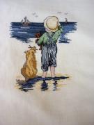 art textile mode personnages broderie garcon mer original : Broderie le garçonnet et son chien