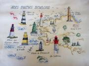art textile mode architecture broderie phare breton bretagne : Broderie les phares Bretons