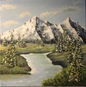 tableau paysages savoie montagne paysage lac : Paysage de Savoie