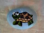 deco design animaux tortue cailloux original vert : la tortue