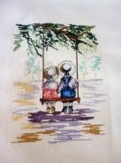 art textile mode personnages broderie enfants balancoire point compte : Broderie Enfants sur balançoire