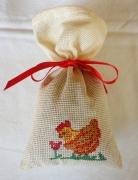 art textile mode animaux sac ,a lavande poule broderie original : Sac à lavande La poule